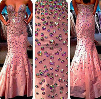 Robe de célébrité train de balai sexy sweetheart France-2015 Fascinant Robes de bal Sweetheart Entièrement Crystal Beaded Bodice Mermaid Sweep Train Satin Celebrity Gowns Pageant Robe