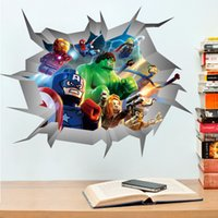 Wholesale 3D Through Wall Stickers Lego Movie Avengers Super Heroes for Kids Boys Rooms Decorative Wall Decals Art Poster Wallpaper Home Decoration
