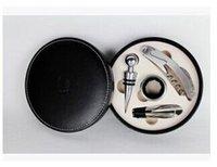 Wholesale 20Pcs Wine Opener Gift Set Fancy Round Leather Box Wine Kits Set Wine Accessories Set