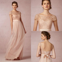 Wholesale 2016 New Long Bridesmaid Dresses Blush Scoop Short Sleeves Lace Tulle Maid of Honor Backless Beach Wedding Party Dress