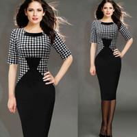 Short Sleeves autumn tunic - 2017 Hot Sale Cheap Women Vintage Dress Pinup Retro Rockabilly Tunic Wear to Work Business Causal Pencil Sheath Bodycon Wiggle Dress FS0809