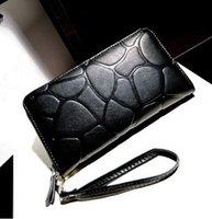 Wholesale 2014 new fashion black stone pattern wallet long section zipper women wallet