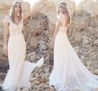 natural beads - Anna Campbell New Bohemian A Line Wedding Dresses Chiffon V neck Sexy Open Back Bridal Dresses Sheer Lace Capped Sleeves Wedding Gowns