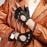leather gloves - YINGSANME Fashion Genuine Leather gloves man half finger goat skin leather gloves motorcycle car Black glove S M L