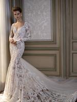 beautiful silk dresses - Berta Long Sleeves Wedding Dresses Romantic Mermaid See Through Bridal Gowns Sweetheart Neckline Lace Beautiful Dresses