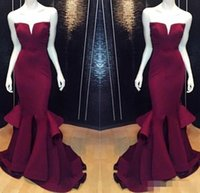 cheap prom dresses - Cheap Mermaid Prom Party Dresses Burgundy Grape Formal Pageant Evening Dress Long Satin Wedding Gowns Backless Sexy Real Images
