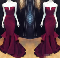 Wholesale Cheap Sexy Mermaid Prom Party Dresses Burgundy Grape Formal Pageant Evening Dress Long Satin Plus Size Gowns Backless Sexy Real Images