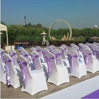 Wholesale 1 pieces Universal spandex chair covers China for Weddings Decoration Party Chair Covers Banquet Dining Chair covers White colors