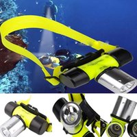 Wholesale Free Epacket Waterproof IP68 CREE U2 LED Lumen underwater m LED Diving Flashlight head lantern Headlamp AAA Dive head light