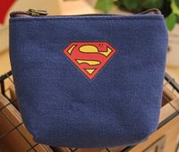 Wholesale DHL Superhero Canvas coin purse superman batman Captain America wallet card holders makeup bag handbag kids heros avengers theme party gift