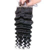 Precio de 7a encierro del pelo de la onda profunda-Encierro de seda profundo peruano de la onda libre Cierre libre de la base de seda del pelo humano de la Virgen de la parte 7A del medio 3 de la parte de la manera libre 4 * 4 pulgadas