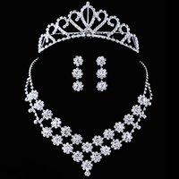 custom made jewelry - Custom Made Crystal Bride Dress Accessories Three Pieces Daisy Style Wedding Jewelry Sets Crown Necklace Earrings Prom Party Tiaras