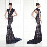 black cap - 2015 Formal Evening Dresses Tarik Ediz Sexy V neck Cap Sleeve Black Lace Mermaid Prom Dresses Evening Gowns