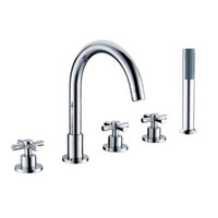 Wholesale CLOUD POWER Chrome Bathrub Faucets With Brass Deck Mounted Bathroom Sink Faucets Mixer Taps Sets With