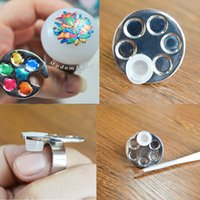Wholesale Nail Art Ring Palette Free Hand Manicure Finger Palette Cosmetic Nail Makeup Mixing Palette Nail Art Tools