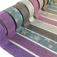 Wholesale 6pcs Colorful Decorative Washi Sticky Glitter film Masking Adhesive Tape Scrapbooking DIY