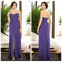 Cheap 2015 A Line Lavender Bridesmaid Dress Chiffon Sweetheart Sleeveless Backless Zipper Floor Length Split Side Ruffle Ruched Cheap Prom Dresses