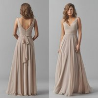 Wholesale 2015 Fall Bridesmaids Formal Dresses Sexy Deep V Neck Elegant Long Sash A Line Backless Champagne Chiffon Bridesmaid Dress Floor Length
