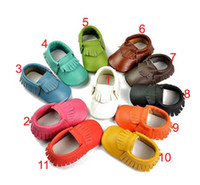 Unisex baby leather shoes - genuine leather tassels moccasins soft leather baby first walkers shoes