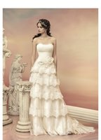 off white lace bridal wedding dress - 2015 Newest White Wedding Dresses Lace Tiers A Line Strapless Off the Shoulder Bridal Gowns Vestido de Novia Dress Custom Made