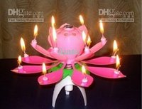 Wholesale Wedding Birthday party gift Flower Music Candle Lotus style New Lotus Music Candles Lotus Petal