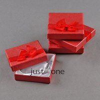 Wholesale 4 Paper Box Case for Jewellery Gift Bracelet Package Storage red