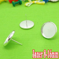 bezel stud - Silver Plated Ear Studs Jewelry with inner mm mm Bezel Setting Tray for Cameo Cabochons