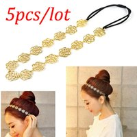 Wholesale 5pcs New Hot Lovely Cute Sweet women girls Exquisite Hollow Out Rose Flower Hair Band Headband