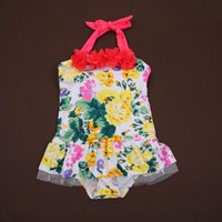 baby boy swimsuit - boy baby swimsuit new swimwear fashion cute girl children one piece swimsuit peony flower bud silk edge childrens swimwear