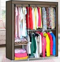 Wholesale New Portable Folding Clothes Wardrobe Closet Hanger Armoires Home Furniture Hot