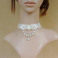Wholesale White Lace Flower Pearl Necklace Beads Pendant Neck Chain Choker Wedding Party Ornaments JNL303