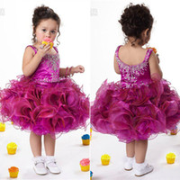Wholesale Cute Baby Flower Girls Dresses Spaghetti Straps Beads Crystals Organza Short Mini Ball Gown Pageant Dresses For Little Girls