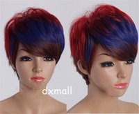 heat resistant wig - New Arrival Fashion Red Blue Brown Color Gradient Short Woman Wig Great Sexy Party Accessory Heat Resistant Wigs T008