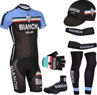 finger bike - Blue BIANCHI cycling jersey bibs shorts with Bike warmers cycling cap and half finger bike gloves
