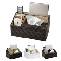 Wholesale Fashion New Tissue Holder European Style Mutifunctional Tissue Box Faux Leather Storage Box Holder Home Decoration JC0097 Salebags