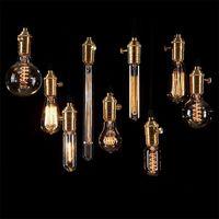 Wholesale Edison Bulb Vintage Retro DIY E27 Spiral Incandescent Light Handmade Fixtures Glass LED Edison Bulb W V Pendant Lamps