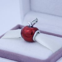 Wholesale Silver Snow White Apple charm with Red Enamel and Green CZ Sterling Silver Charms European Bracelet DIY Jewelry AC3521