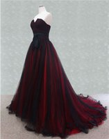 red and black wedding dresses - Color Wedding Dresses A Line Strapless Black and Red Tulle Sweep Train Gothic Bridal Gowns