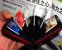 Wholesale 100pcs Aluminium Credit card wallet cases mix colors card holder bank card case aluminum wallets free EMS
