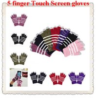 Wholesale Women Men Winter warm stripe Knitted Touch Screen Gloves For iPhone Sumsung NOKIA smart Phone Tablet PC and Capasitive Device Promotion