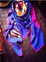 silk twill scarf - 2015 New design women fashion scarfs cm cm zebra pattern silk twill scarfs large square silk touch scarf shawls
