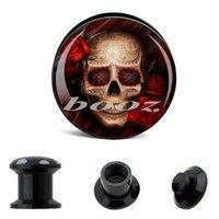 Wholesale Acrylic Piercing body jewelry Skull logo Ear plugs pc small size pair big size pair