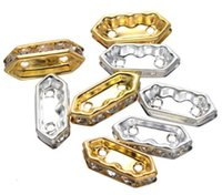 Wholesale 2 Strands Hole mm Silver Gold Long Hexagon Spacer Bead Oval Connector Beads For Jewelry Making Components