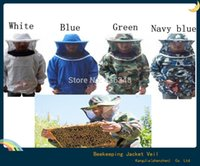 Wholesale Protective Safety Clothing Beekeeping Jacket Veil Smock Equipment Bee Keeping Hat Sleeve Suit White Blue Camouflage A5