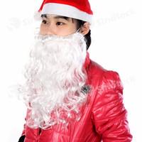 Wholesale Festival Prop Santa Claus White Beard Christmas Father Old Man Thicken Beard Costume Mustache Unisex Children Dress Up Free DHL Factory
