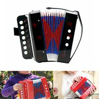 Wholesale Kids Children Key Bass Mini Small Accordion Educational Musical Instrument Rhythm Band Toy Great gift Black Red Blue order lt no track