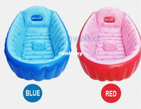 Wholesale Inhand Summer Portable Baby Kid Toddler Inflatable Bathtub Newborn Thick Blue And Red Bath Tub Banera Bebe