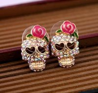 shamballa earrings - Hot Fashion Skull Earrings Stud Crystal Diamonds Flower Lady Alloy Shamballa Stud Earring pairs n602