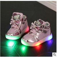 Wholesale 2016 new children casual shoes rhinestone kt cat bow child sport shoes LED lights shoes baby martin boots