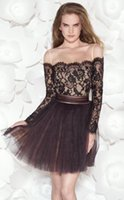 Wholesale Lace Short Cocktail Dresses Black Tulle with Champagne Inside Gorgeous Sheer Long Sleeves Backless Ladies Formal Tarik Ediz Cheap Prom